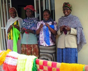 Widows with hand made goods