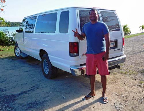 Driver and Van at Punta Gorda